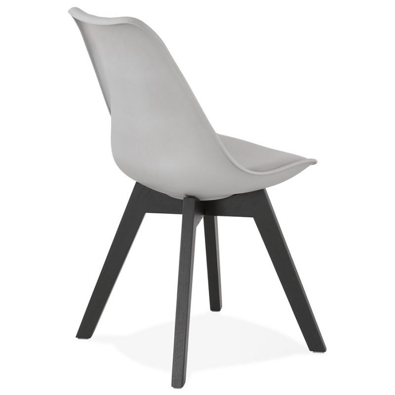 Chaise design pieds bois noir MAILLY (gris) - image 47505
