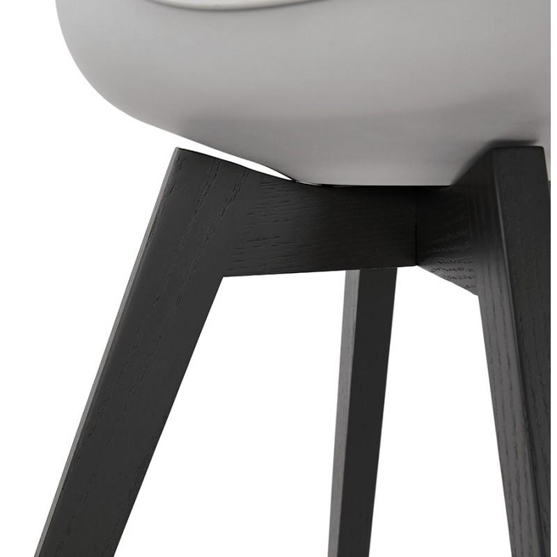 Chaise design pieds bois noir MAILLY (gris) - image 47510