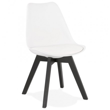 Chaise design pieds bois noir MAILLY (blanc)