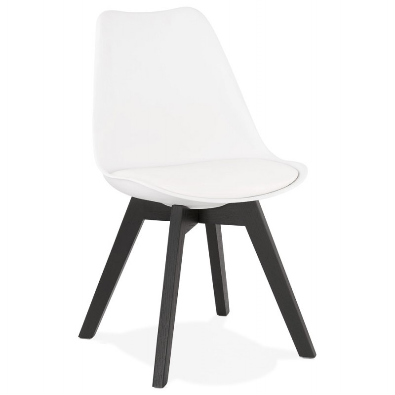 Chaise design pieds bois noir MAILLY (blanc) - image 47513
