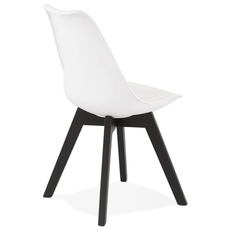 Chaise design pieds bois noir MAILLY (blanc) - image 47516