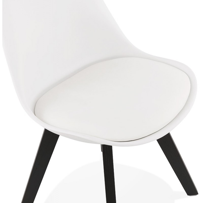 Chaise design pieds bois noir MAILLY (blanc) - image 47518