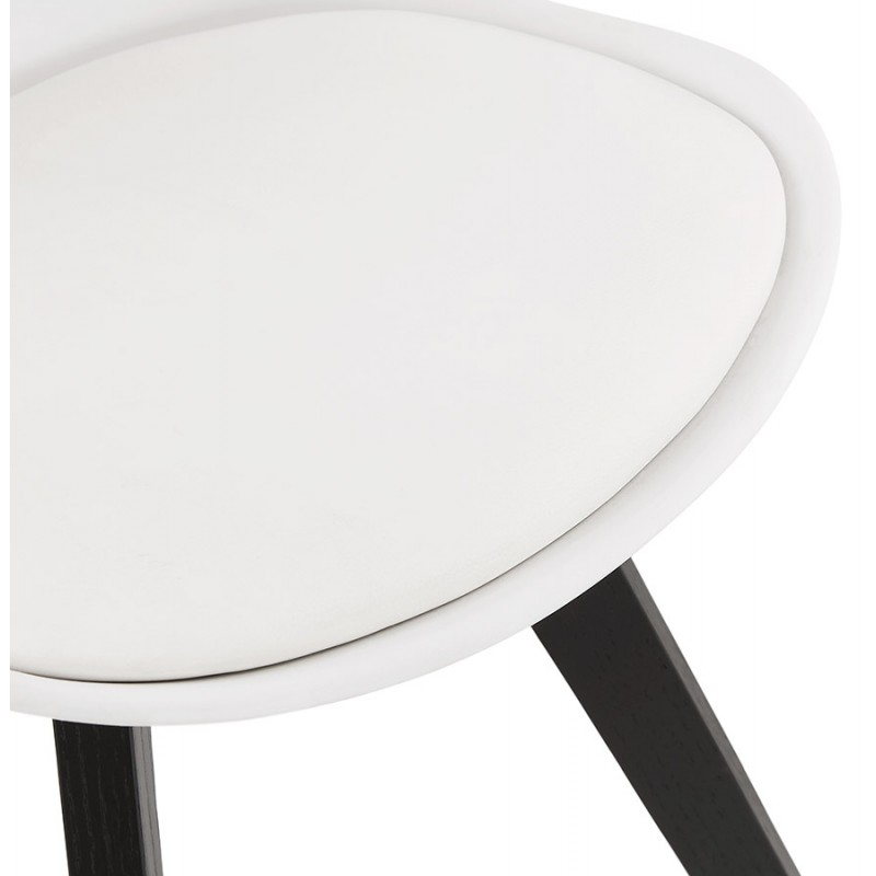 Chaise design pieds bois noir MAILLY (blanc) - image 47519