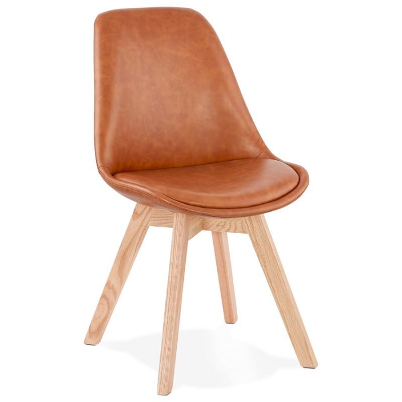 Chaise vintage et industrielle pieds bois finition naturelle MANUELA (marron) - image 47535
