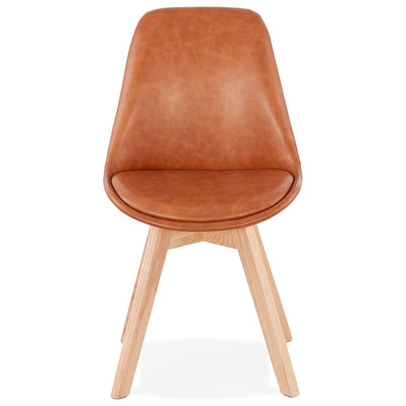 Chaise vintage et industrielle pieds bois finition naturelle MANUELA (marron) - image 47536