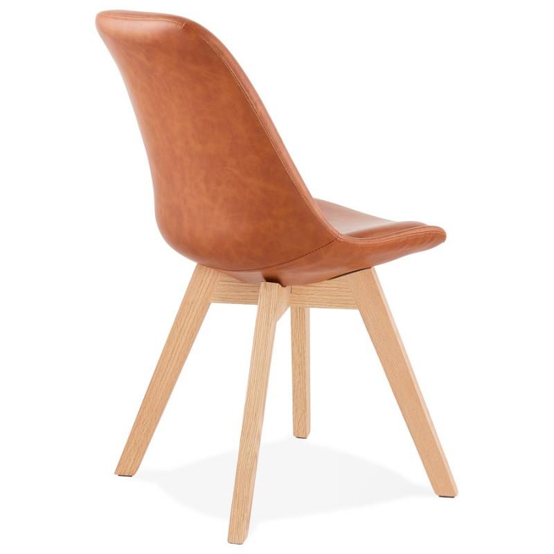 Chaise vintage et industrielle pieds bois finition naturelle MANUELA (marron) - image 47538