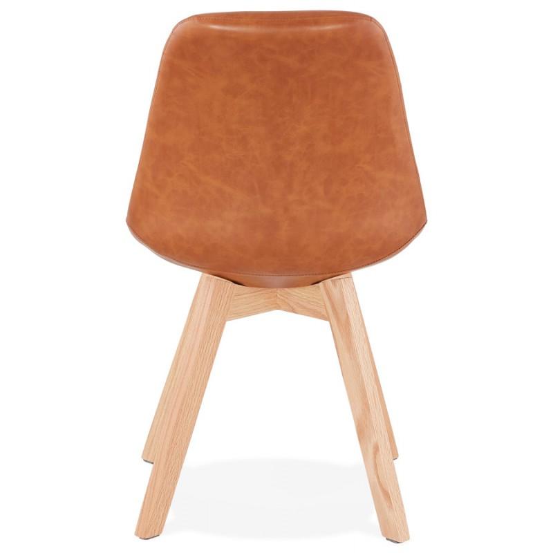 Chaise vintage et industrielle pieds bois finition naturelle MANUELA (marron) - image 47539