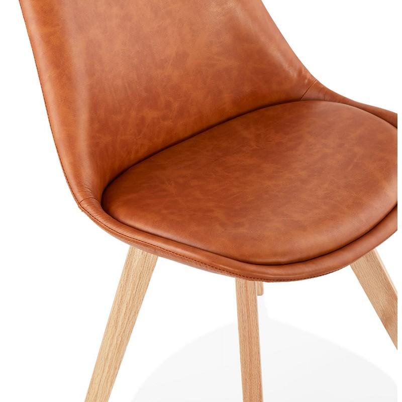 Chaise vintage et industrielle pieds bois finition naturelle MANUELA (marron) - image 47540