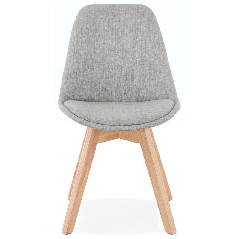 Chaise design en tissu pieds bois finition naturelle NAYA (gris) - image 47545