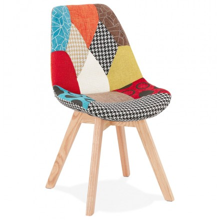 MariKA natural-finished bohemian patchwork fabric chair (multi-coloured)