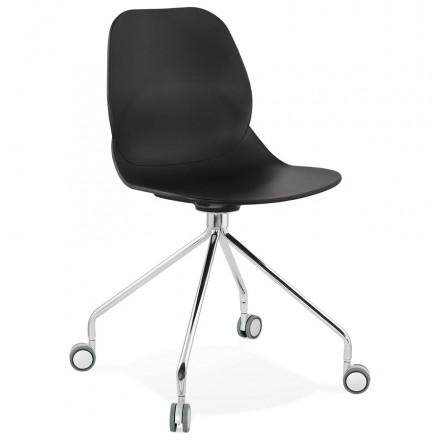 Chaise de bureau sur roulettes pied métal chromé MARIANA (noir)