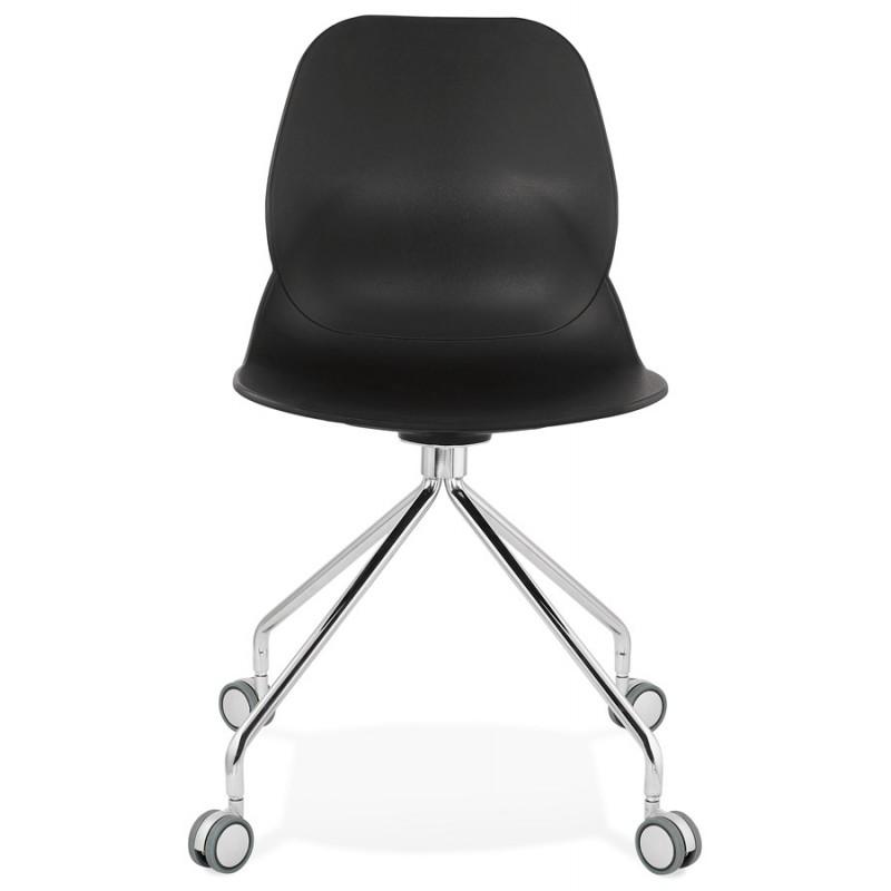 Chaise de bureau sur roulettes pied métal chromé MARIANA (noir) - image 47568