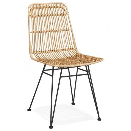 Design chair and vintage rattan feet black metal BERENICE (natural)