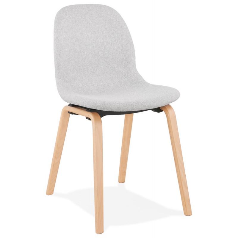 Chaise design et scandinave en tissu pieds bois finition naturelle MARTINA (gris clair)