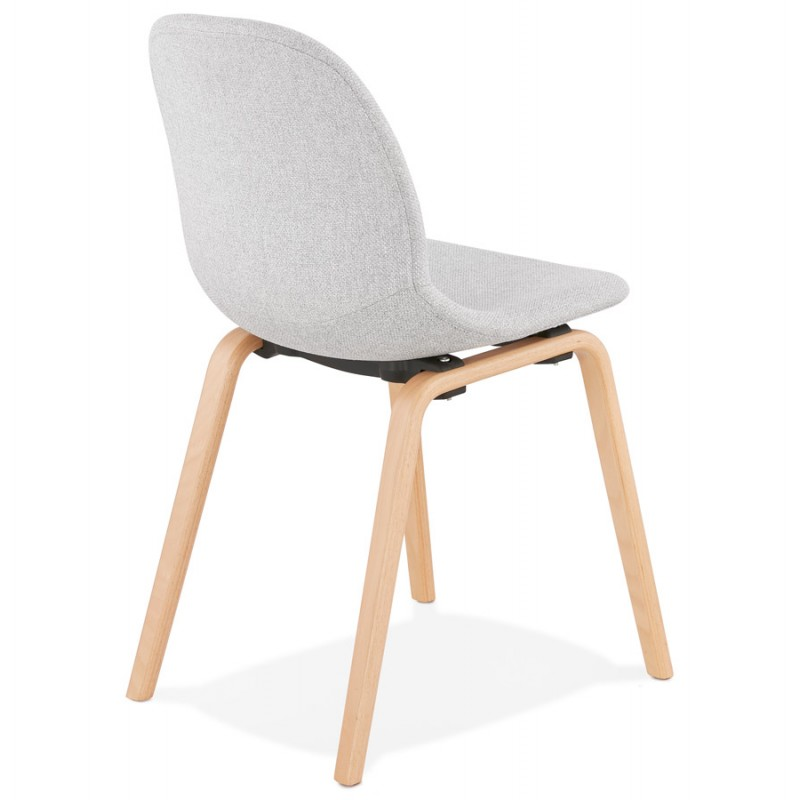 Chaise design et scandinave en tissu pieds bois finition naturelle MARTINA (gris clair) - image 47626
