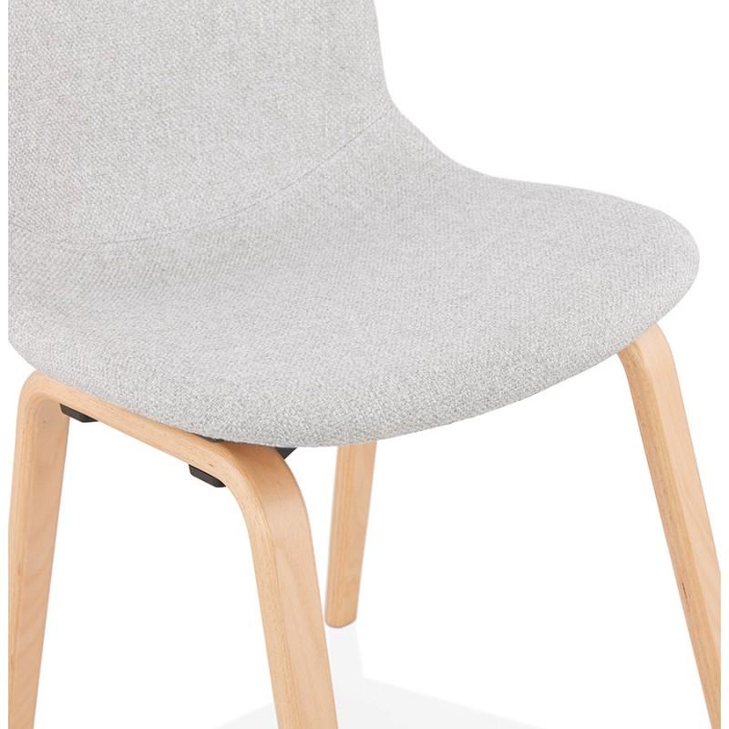Chaise design et scandinave en tissu pieds bois finition naturelle MARTINA (gris clair) - image 47628