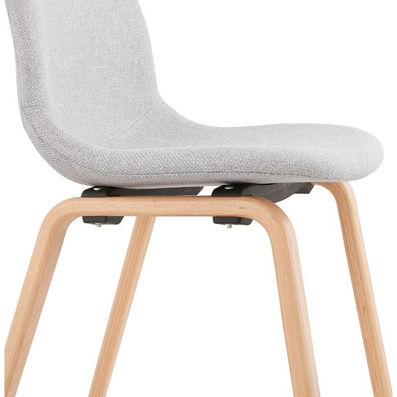 Chaise design et scandinave en tissu pieds bois finition naturelle MARTINA (gris clair) - image 47629