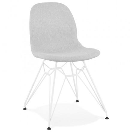 Chaise design industrielle en tissu pieds métal blanc MOUNA (gris clair)