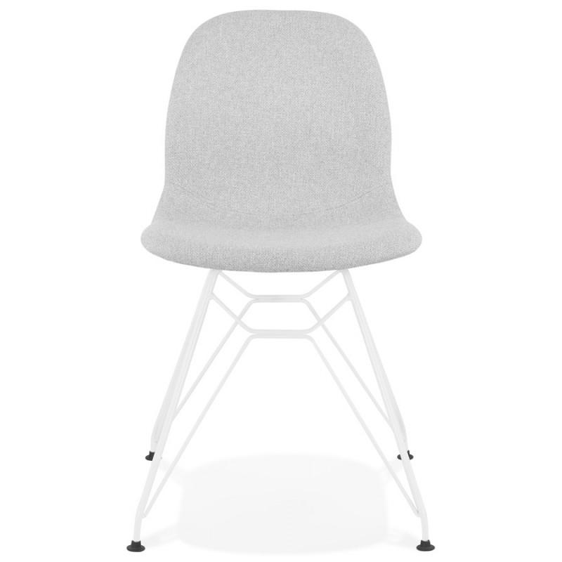 Chaise design industrielle en tissu pieds métal blanc MOUNA (gris clair) - image 47657
