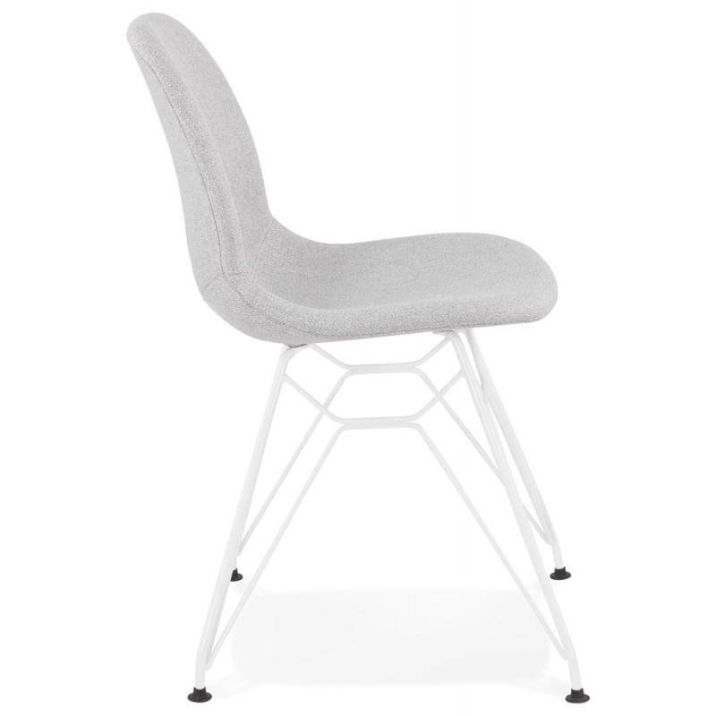 Silla de diseño industrial en tejido de pie de metal blanco MOUNA (gris claro) - image 47658