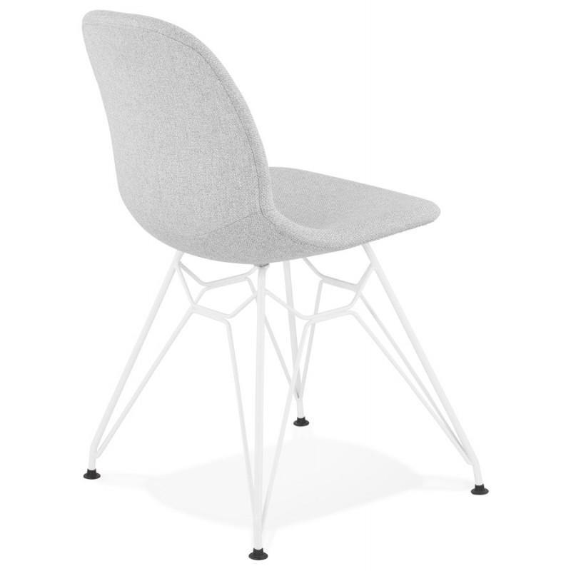 Chaise design industrielle en tissu pieds métal blanc MOUNA (gris clair) - image 47659