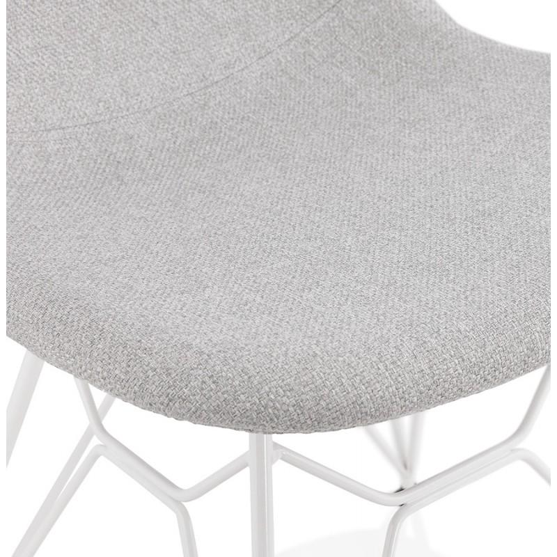 Chaise design industrielle en tissu pieds métal blanc MOUNA (gris clair) - image 47663