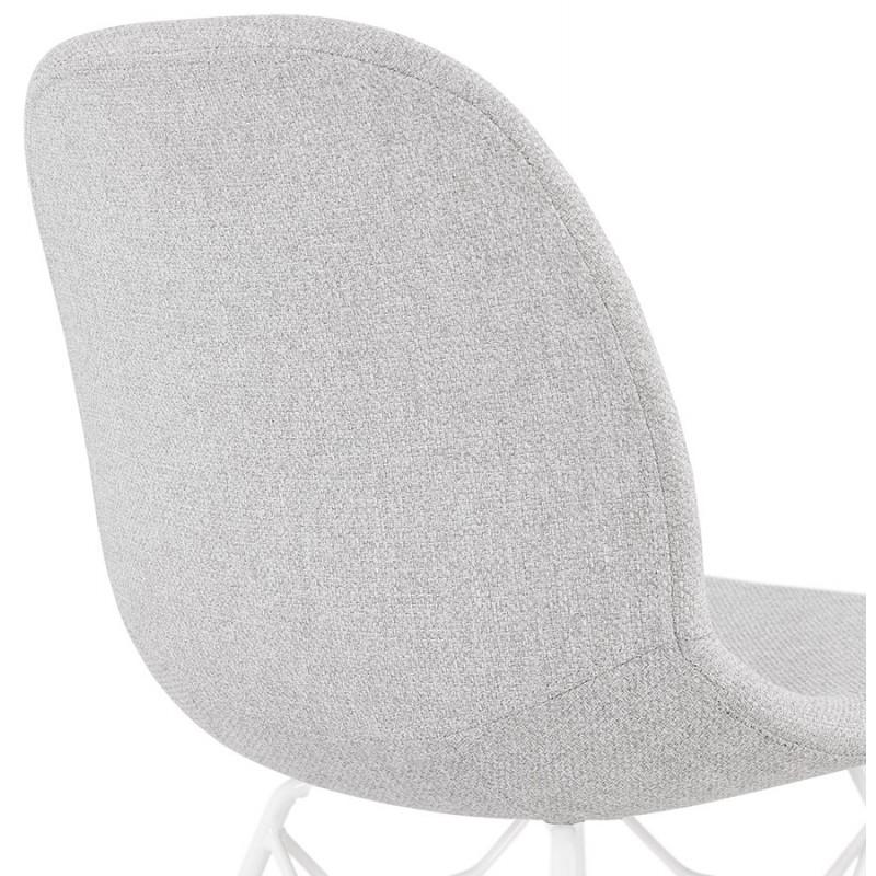 Chaise design industrielle en tissu pieds métal blanc MOUNA (gris clair) - image 47665