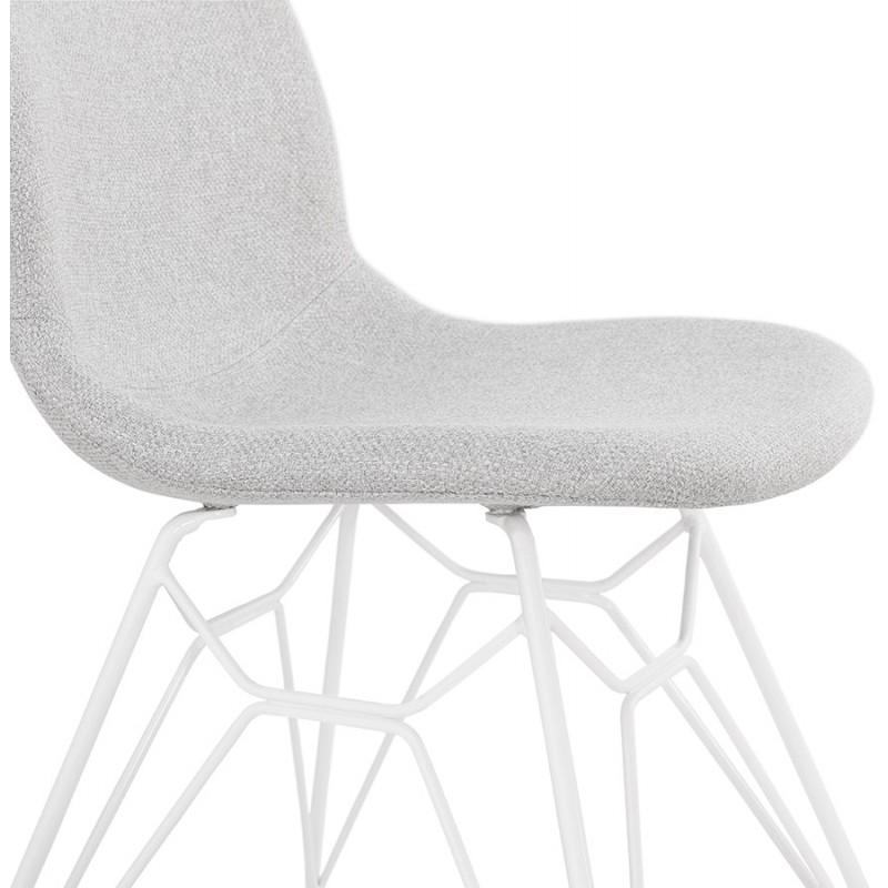 Chaise design industrielle en tissu pieds métal blanc MOUNA (gris clair) - image 47666