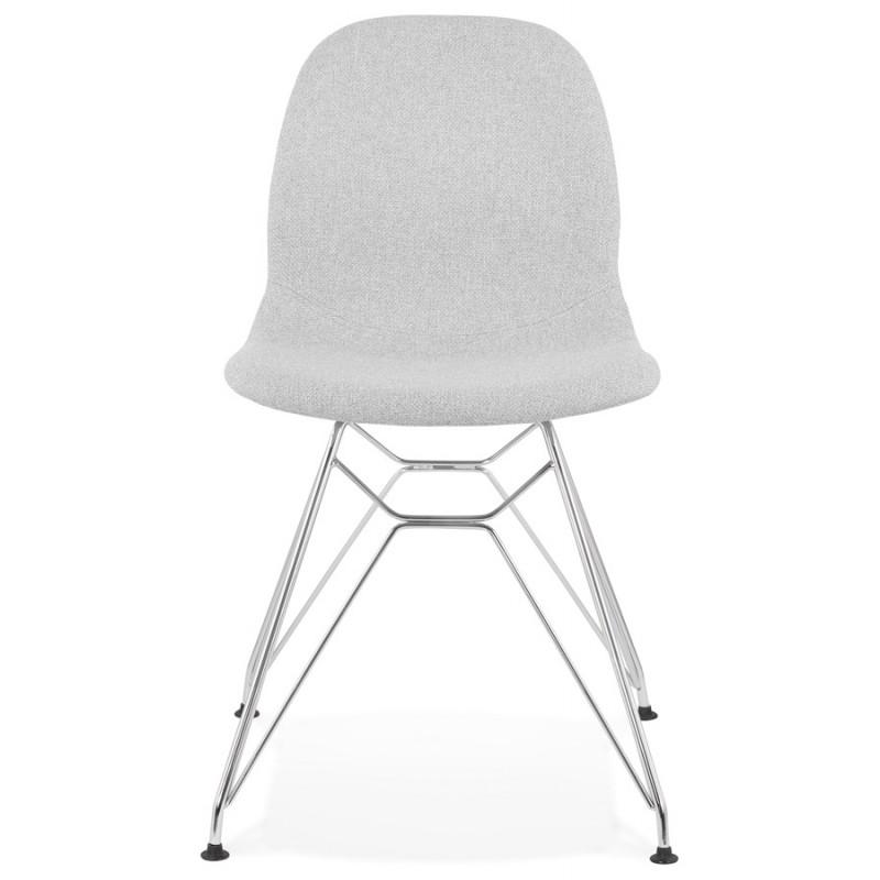 Chaise design industrielle en tissu pieds métal chromé MOUNA (gris clair) - image 47670