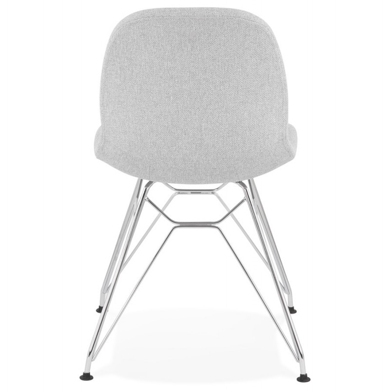 Chaise design industrielle en tissu pieds métal chromé MOUNA (gris clair) - image 47673
