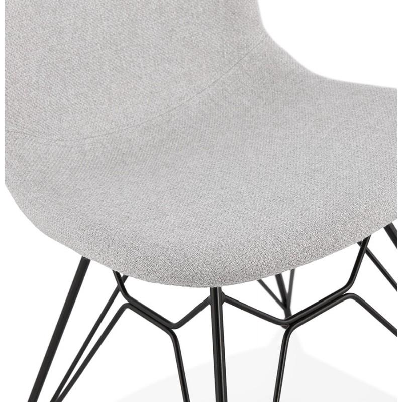 Chaise design industrielle en tissu pieds métal noir MOUNA (gris clair) - image 47688
