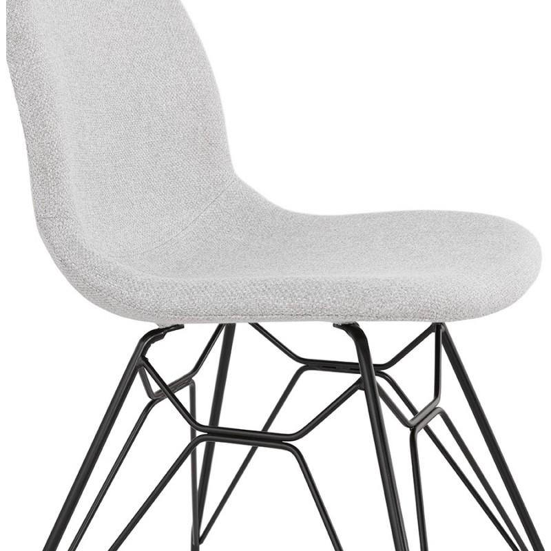 Chaise design industrielle en tissu pieds métal noir MOUNA (gris clair) - image 47689