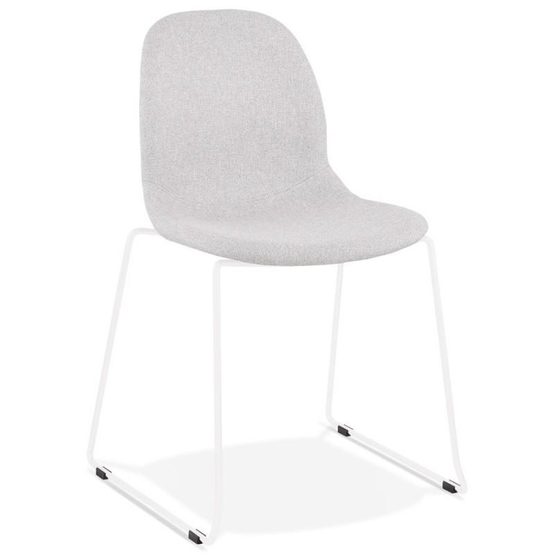 Chaise design empilable en tissu pieds métal blanc MANOU (gris clair)