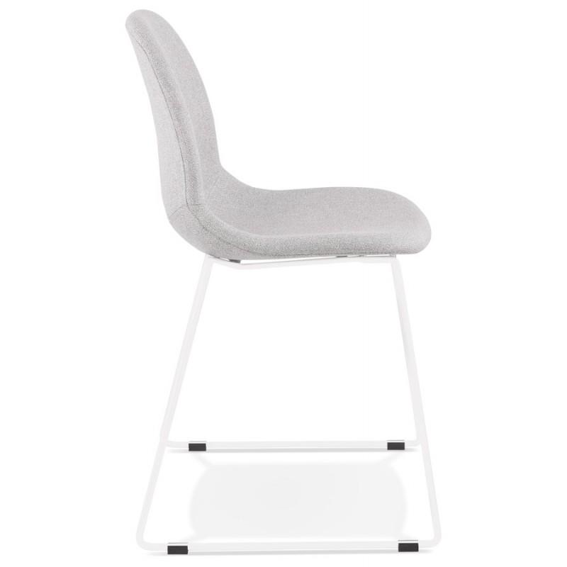 Chaise design empilable en tissu pieds métal blanc MANOU (gris clair) - image 47696