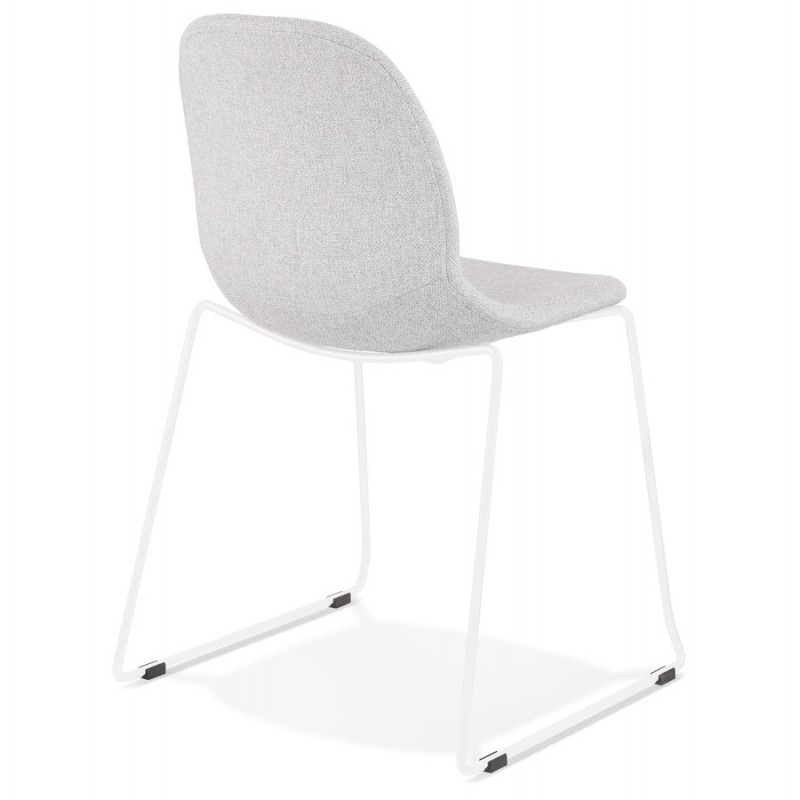 Chaise design empilable en tissu pieds métal blanc MANOU (gris clair) - image 47697