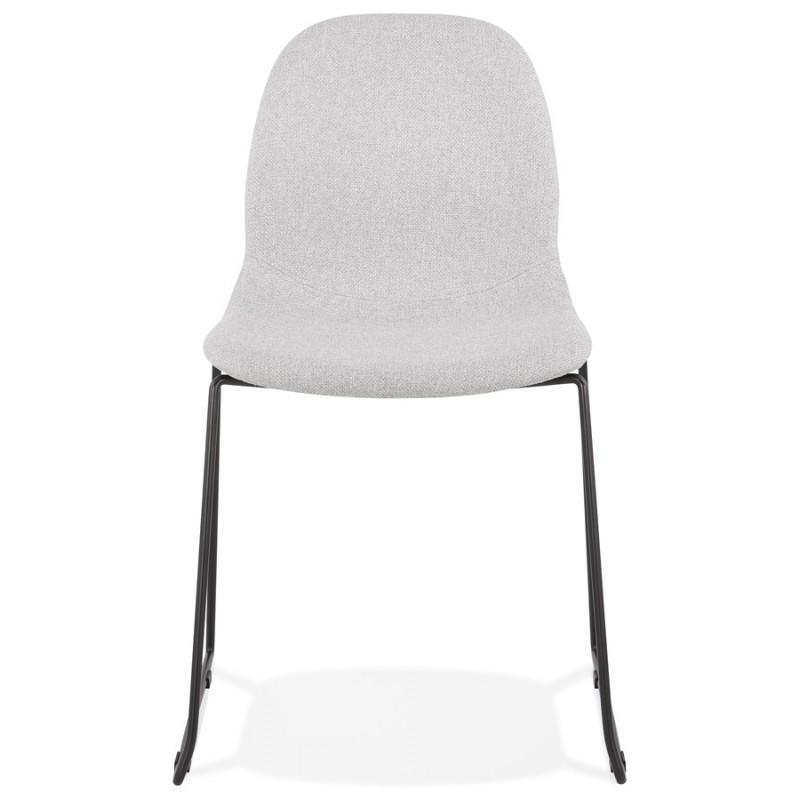 Chaise design empilable en tissu pieds métal noir MANOU (gris clair) - image 47704