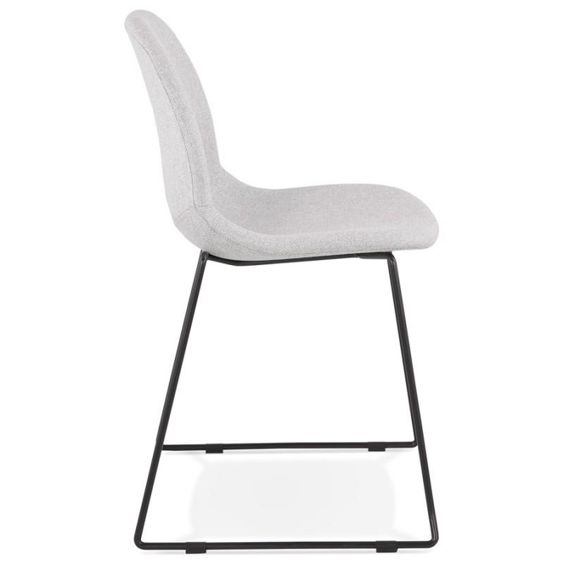 Chaise design empilable en tissu pieds métal noir MANOU (gris clair) - image 47705