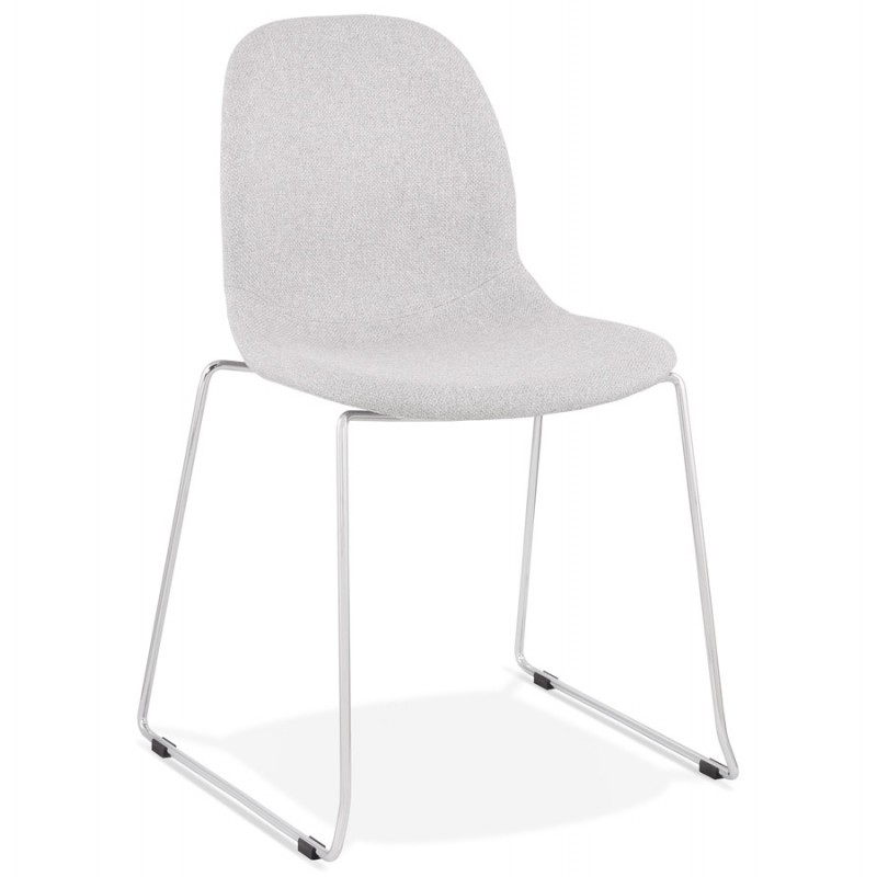 Chaise design empilable en tissu pieds métal chromé MANOU (gris clair)