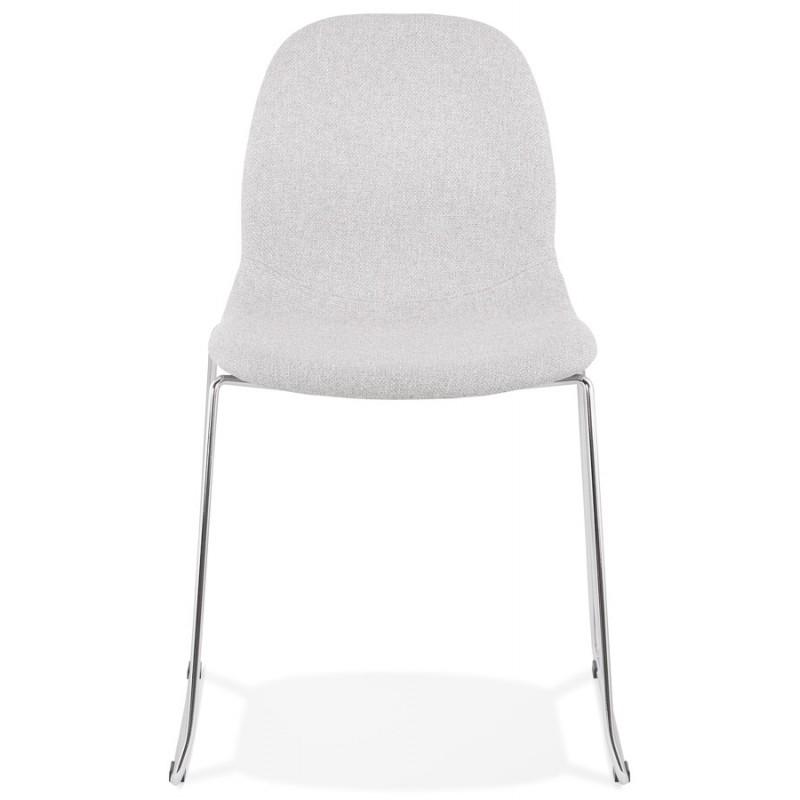 Chaise design empilable en tissu pieds métal chromé MANOU (gris clair) - image 47716