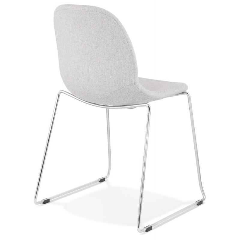 Chaise design empilable en tissu pieds métal chromé MANOU (gris clair) - image 47718
