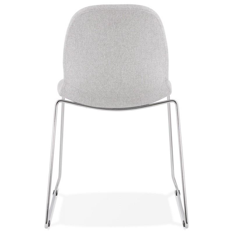 Chaise design empilable en tissu pieds métal chromé MANOU (gris clair) - image 47719