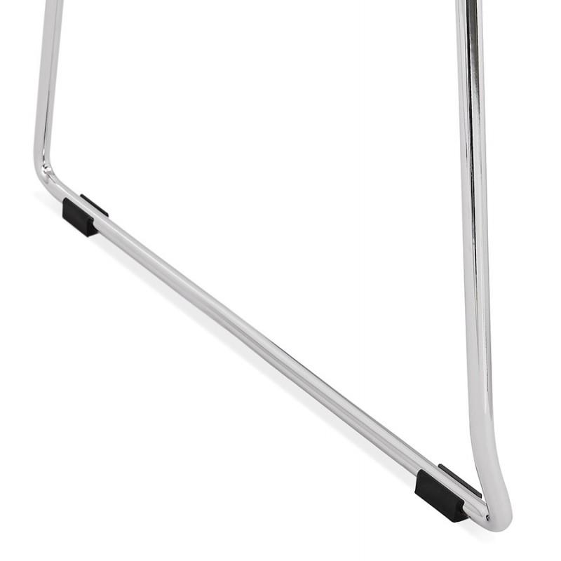 Chaise design empilable en tissu pieds métal chromé MANOU (gris clair) - image 47725