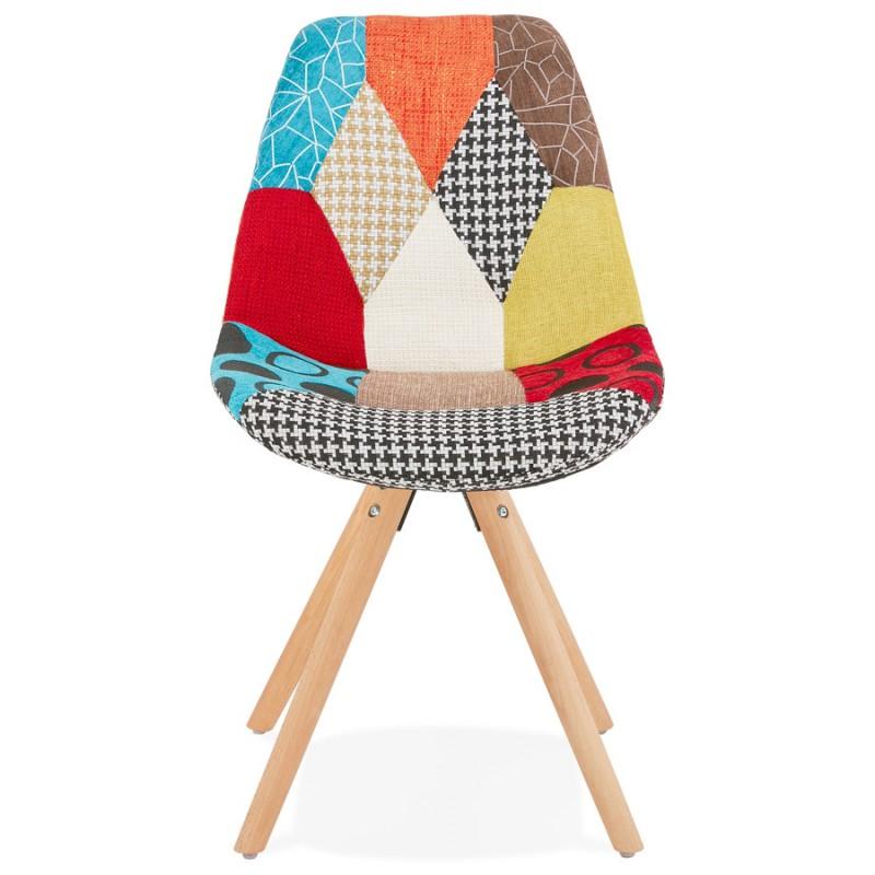 Chaise bohème patchwork en tissu pieds bois finition naturelle MANAO (multicolore) - image 47728