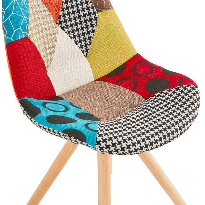 Chaise bohème patchwork en tissu pieds bois finition naturelle MANAO (multicolore) - image 47733