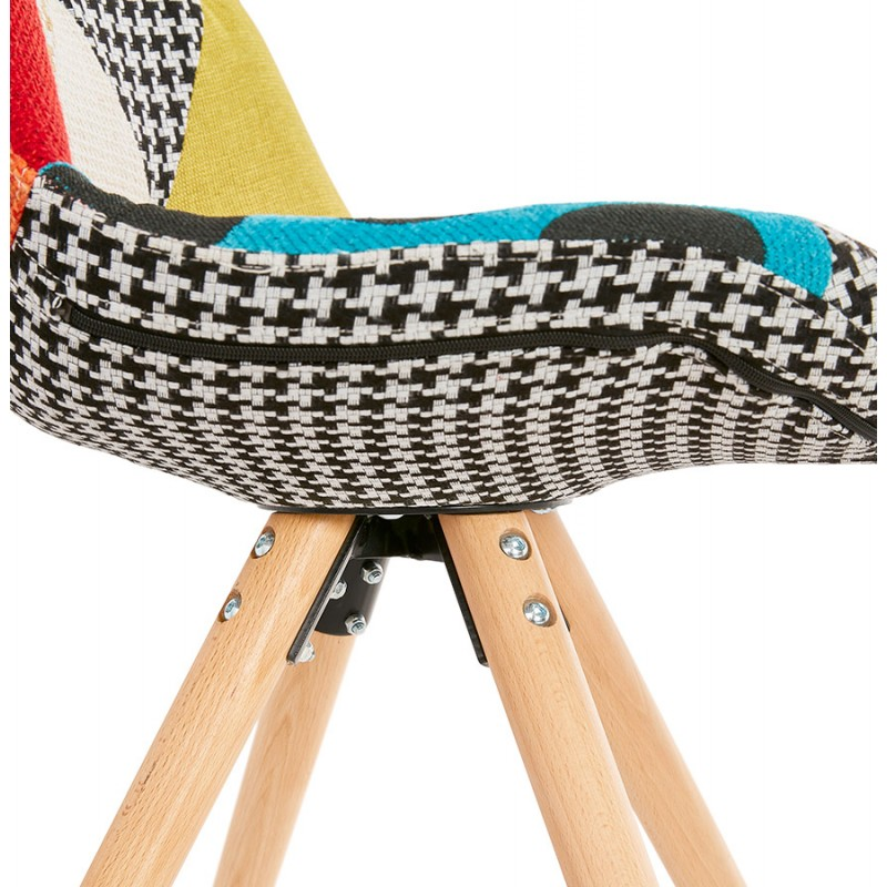 Chaise bohème patchwork en tissu pieds bois finition naturelle MANAO (multicolore) - image 47736