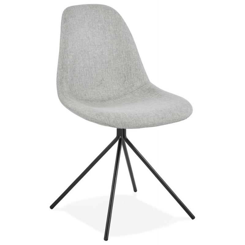 Chaise design et scandinave en tissu pieds métal noir MALVIN (gris clair) - image 47738