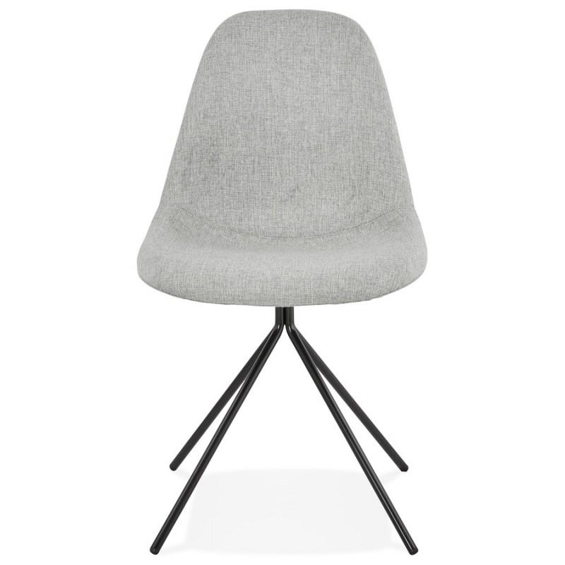 Chaise design et scandinave en tissu pieds métal noir MALVIN (gris clair) - image 47739