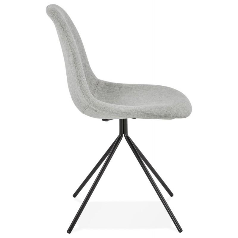 Chaise design et scandinave en tissu pieds métal noir MALVIN (gris clair) - image 47740