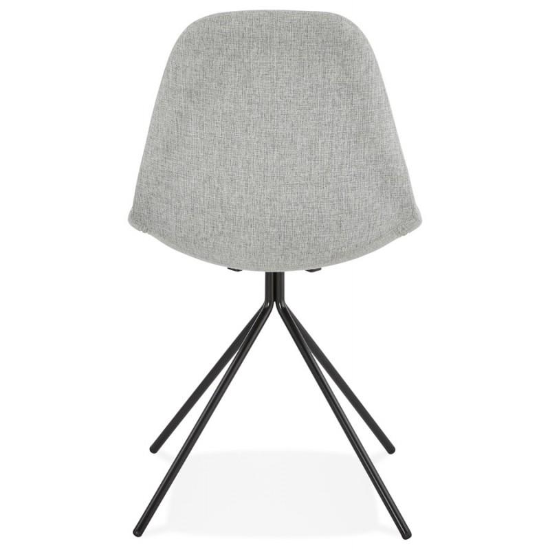 Chaise design et scandinave en tissu pieds métal noir MALVIN (gris clair) - image 47742