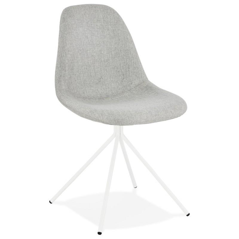 Chaise design et scandinave en tissu pieds métal blanc MALVIN (gris clair)